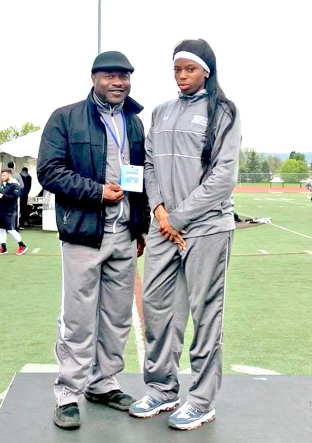 Taneira Bowman and coach Alfred Thompkins