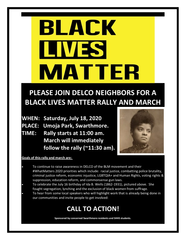 PLEASE JOIN DELCO NEIGHBORS IN A BLACK LIVES MATTER RALLY AND MARCH